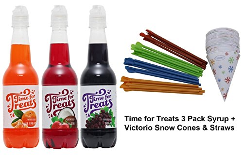 Time for Treats 3-Pack of Orange Cream, Tiger's Blood and Grape Snow Cone Syrup + 25-Pack of Snow Cone Cups & Spoon Straws (Snow Cone Cups And Syrup compare prices)