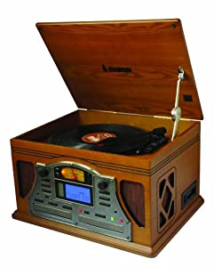 Steepletone Lancaster Nostalgia 5-in-1 Music System with CD Recording Function - Lightwood
