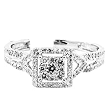 buy 0.4Cttw Diamond Engagement Ring Square Halo Split Shoulder 7.5Mm Wide 10K White Gold