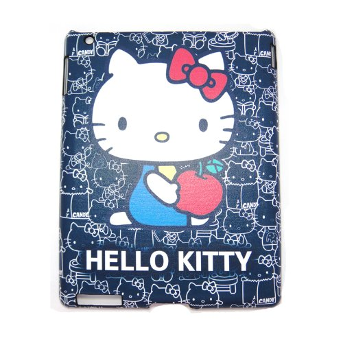 Hello kitty dark blue leather hard back case for ipad 2