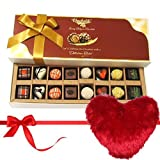 Valentine Chocholik's Belgium Chocolates - Elegance In Style Assorted Chocolates With Heart Pillow