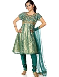 Exotic India Green Brocaded Shimmer Anarkali Suit With Beadwork And Dori - Green