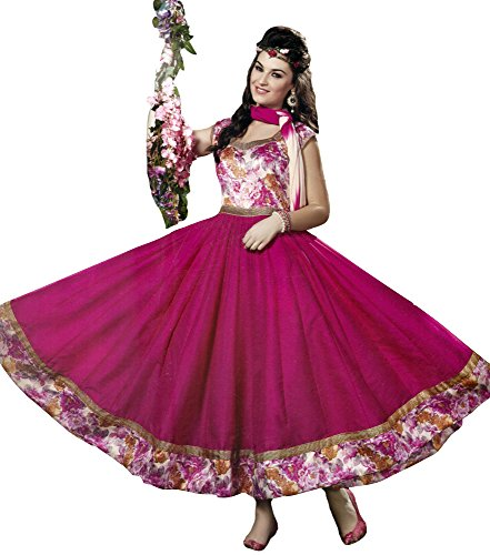 Exotic India Raspberry-Rose Floral Printed Anarkali Suit with Plain Ghagr - PinkGarment Size 36