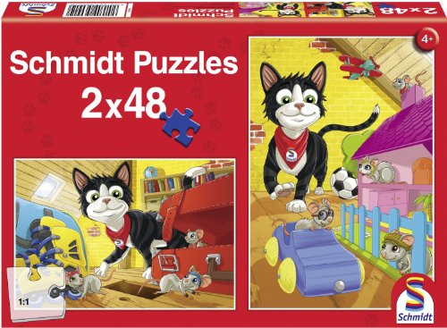 Katze Hide and Seek Two 48-Piece Children's Jigsaw Puzzle