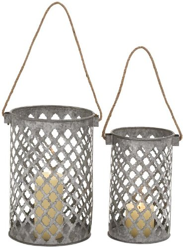 Adair Lanterns Set Of 2, SET OF 2, GALVANIZED TIN