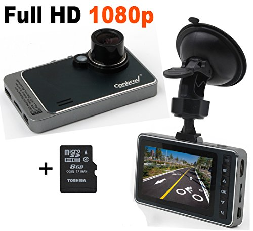 Conbrov Full Hd 1080p Dash Cam Car Video Camera Vehicle Dashboard Driving DVR Recorder, 2.7in LCD Screen , 140 Wide Angle lens, G-Sensor, Motion Detection, Loop Recording,Free with 8GB Micro SD Card (Car Mini Dashboard Camera compare prices)