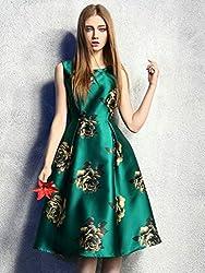 Mahadev Enterprise Green Retro Floral High Waist Sleeveless Midi Skater Dress ( Semi Stitched )