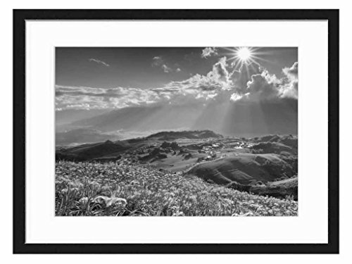 Beautiful Landscape - Art Print Wall Solid Wood Framed Picture (Black & White 20x14 inches)