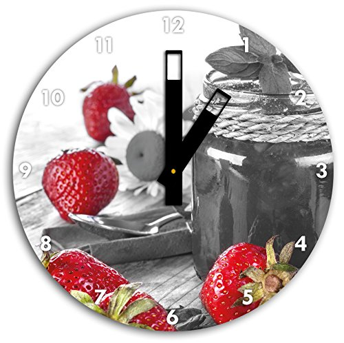 fraises fruitées devant pot de confiture noir blanc, diamètre 30cm / horloge murale avec du noir au carré les mains et le visage, objets décoratifs, Designuhr, aluminium composite très agréable pour salon, bureau