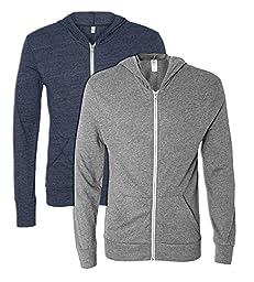 Alternative 01970E1 50% Polyester 38% Cotton 12% Rayon Men\'s Full Zip Hoodie Large 1 Eco True Navy + 1 Urban Grey