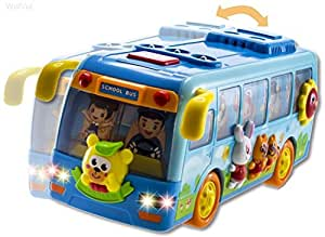 WolVol Shaking Musical Fun Small School Bus Toy with Flashing Lights, Moves and rides on its own, sh