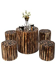 Onlineshoppee Wooden Antique Round Shaped Coffee Table With 4 Stool Size(LxBxH-16x16x16) Inch
