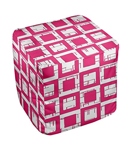 E by design FG-N2-Fushia-13 Geometric Pouf