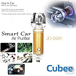 Cubee Royal Gold Car Air Purifier Ionizer JO-6281, Eliminate Bad smell from cigarette, pets and more - Best Smoke Odor Removal Available for your Auto - Makes a Great Gift Best for KUV100, TUV300, XUV500, i20 elite, Swift, Santro Duster, Verna