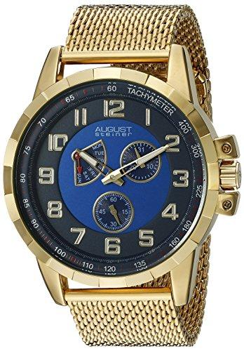 August Steiner Men's Round Blue Dial Two Hand Retrodrade Quartz Gold Tone Bracelet Watch