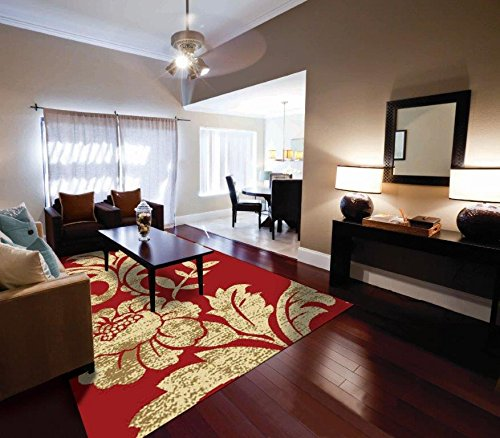 Luxury Modern Area Rugs 2x8 Rug Red And Cream Flower Carpet Living Room Rugs