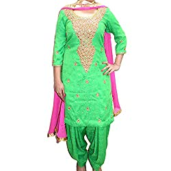 Reet Glamour Women 's Cotton Unstitched Green Punjabi Suit