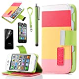 Pandamimi ULAK(TM) Colorful PU Leather Wallet Type Magnet Design Flip Case Cover for Apple iPhone 4 4G 4S with Screen Protector and Stylus Reviews