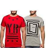 Yo Republic Mens Cotton Tshirt Combo Offer (Pack of 2)(AT-0061-XXL_Red_Grey_XX-Large)