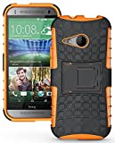 Heartly Flip Kick Stand Spider Hard Dual Armor Hybrid Bumper Back Case Cover For HTC One M8 Mini - Mobile Orange