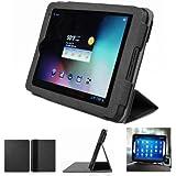 Mulbess - Intenso Tab 814 8 Zoll CleverStrap Leder Tasche Hülle Case - Premium Tablet-PC Schutzhülle Case Tasche Etui Sleeve Cover mit Aufsteller Farbe Schwarz