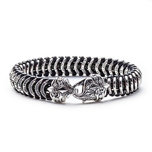Scott Kay Men's Samurai Leather and Sterling Silver Bracelet - Black, 9 Inches