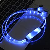 WolVol (New Style) Blue Color Flashing Lights Earphones Headset Headphones (with microphone) charging cable enclosed