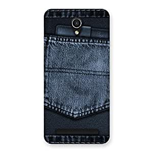Delighted Navy Jeans Pocket Back Case Cover for Zenfone Go