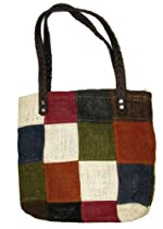 Handmade Jute Patchwork French Market Tote Bag Multi-Color