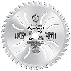 "Freud TK301 Avanti 6-1/2"" 40 Tooth ATB 5/8"" Arbor Thin Kerf Finishing Circular Saw Blade"