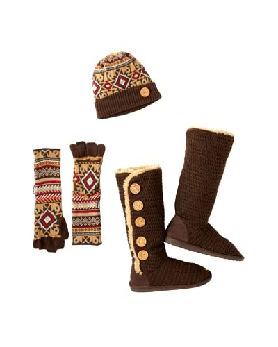 MUKLUKS Women's Malena Button-Up Boots, Beanie & Long Flip Gloves