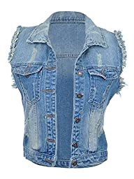 Anna-Kaci S/M Fit Medium Washed Super Distressed Blue Denim Vest w Cut-Off Arms