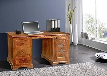 OXFORD Schreibtisch #0420 Akazie honig massiv B/H/T ca. 150/85/76 cm - mit Eisen