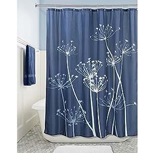 Interdesign Thistle Fabric Shower Curtain 72 X 72 Inch Navy Slate Blue Home