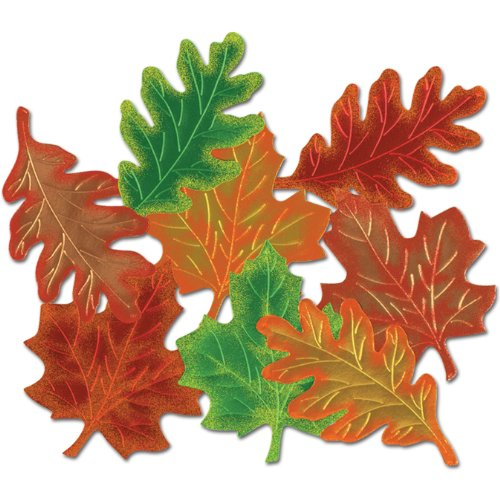 Pkgd Foil Leaf Silhouettes (asstd colors) Party Accessory  (1 count) (4/Pkg)