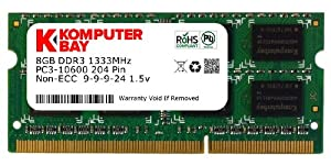 Komputerbay 8GB PC3-10600 10666 1333MHz SODIMM 204-Pin Laptop Memory 9-9-9-24 Single 8GB Stick for PC only - not MAC
