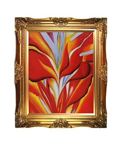 "Georgia O'Keeffe's ""Red Canna"" Framed Hand Painted Oil On Canvas, Multi"