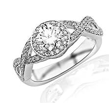 buy 1 Carat Twisting Split Shank Halo Style Diamond Engagement Ring 14K White Gold With A 0.5 Carat F-G Si2-I1 Round Brilliant Cut/Shape Center