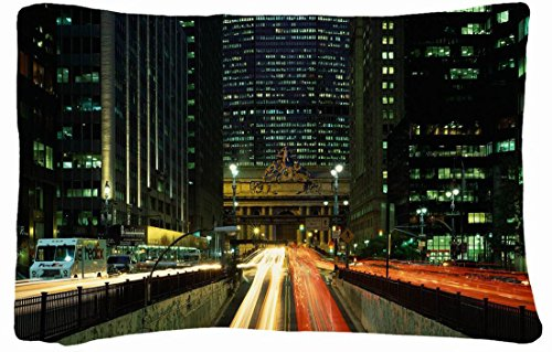Microfiber Peach Queen Size Decorative Pillowcase -City Night Lights Home City Machines front-983300
