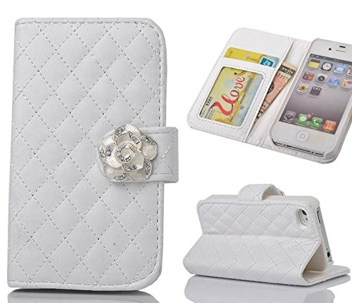 iphone 5 Case,iphone 5S Case, Welity White Color Camellia Soft Leather Grid Crystal Pu Leather Wallet Case for Apple iPhone 5/5S/5G and one gift