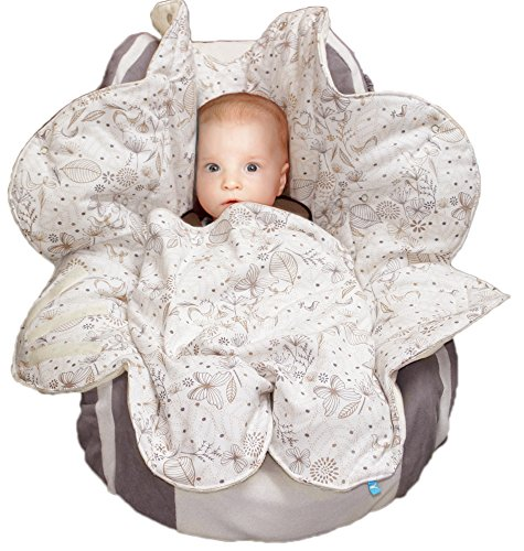 Wallaboo Baby Blanket with Durable Faux Suede and 100% Printed Pure Cotton, Ecru
