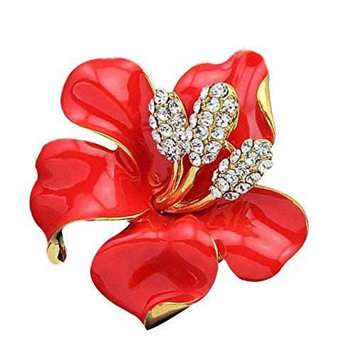 Contever® Bling Rose Fiore Spilla Pin Gioielli di Moda Annata Eleganti Colore: Rosso