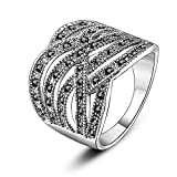 Mytys Wide Twist Black Marcasite Wide Band Cocktail Rings (8)