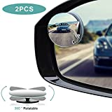 Blind Spot Mirrors, HD Glass Convex Rear View Mirror with Adjustable Wide Angle Driver Side Mirror and Passenger Side Mirrors for All Car Mirrors, Pack of 2