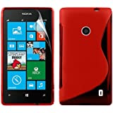 Zonewire® RED WAVE GEL CASE COVER FOR NOKIA LUMIA 520 + SCREEN PROTECTOR