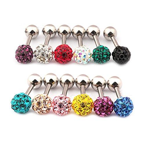 Surker 12Pcs Cz Gem Beads 16G Stainless Steel Bar Tragus Cartilage Ear Studs Earrings-5Mm