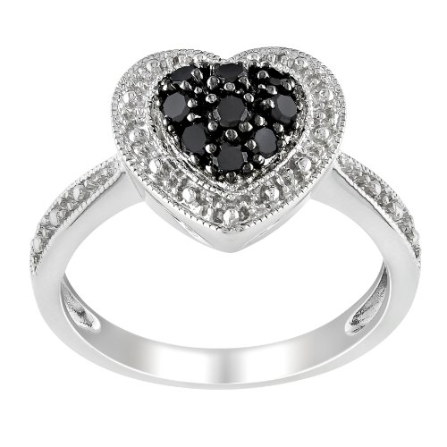 Sterling Silver Black and White Diamond Heart Ring (.25 cttw), Size 7