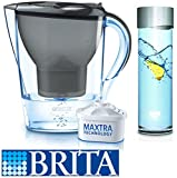BRITA® Marella Black Cool Graphite Water Cartridge Filter Jug + BRITA® Fill and Serve Glass Carafe 0.5 litre with Steel Coloured Brushed Aluminium Lid