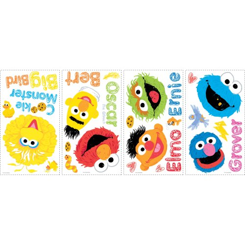 RoomMates RMK1866SCS Sesame Street Scribble Peel and Stick Wall Decals - 1