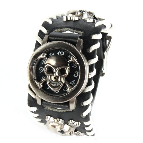 Yesurprise Pirate Leather Band Women Men Unisex Bracelet Cool Wrist Watch